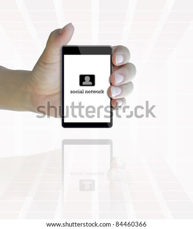 black color touch phone in hand on white background. - stock photo