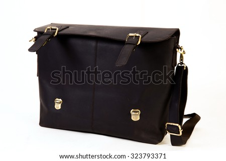 black colored leather executive bag ideal for corporate world isolated on white available with clipping path