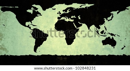Black colored rough representation of the world map, on a green background - stock photo