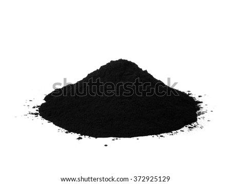 Black colour toner for printer isolated on white background - stock photo