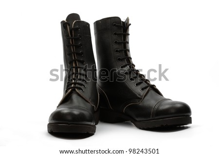 Black combat boots, isolated