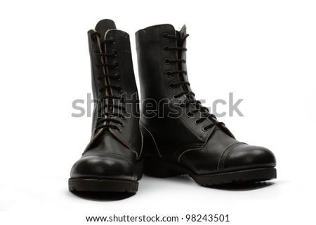 Black combat boots, isolated - stock photo