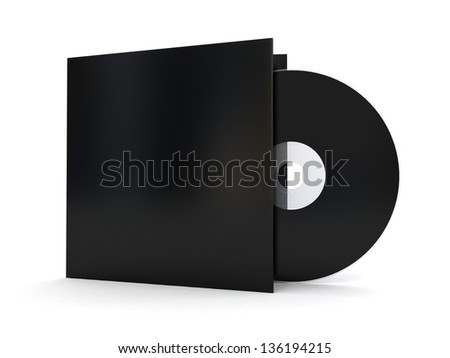 Black compact disk with cover 3d render - stock photo