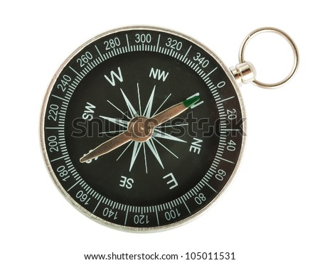 Black Compass Closeup Isolated on White Background - stock photo