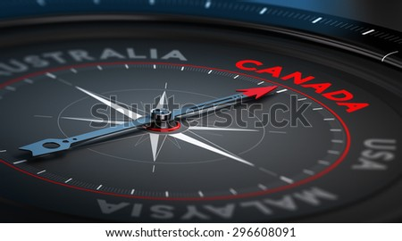 Black compass with needle pointing the country Canada. Conceptual illustration part one of the three best immigration countries. - stock photo