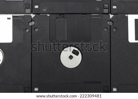 Black computer diskettes. Photo.