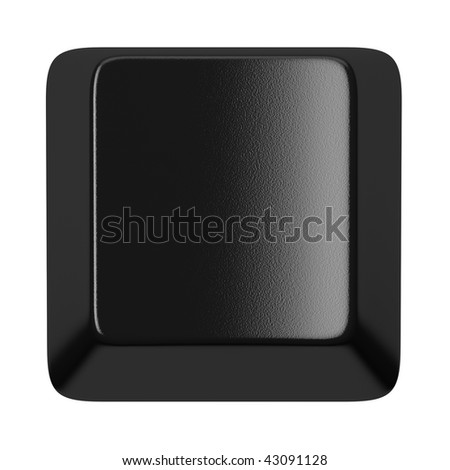 Black computer key with clear space isolated on white - stock photo