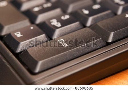 black computer keyboard close-up - stock photo