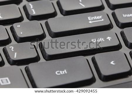 Black computer keyboard closeup on Shift - stock photo