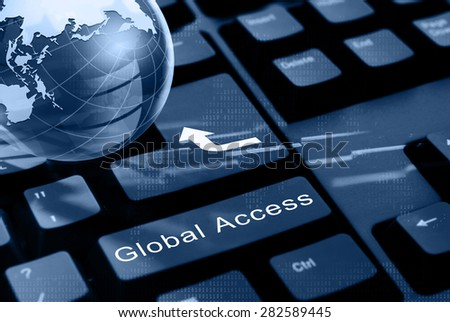 Black computer keyboard with global access button.  - stock photo