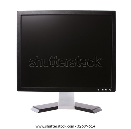 Black computer LCD monitor in isolated white background.