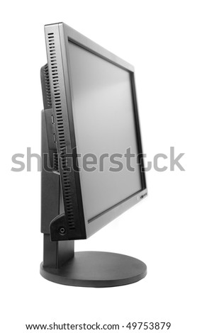 black computer monitor isolated on white