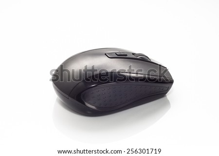 Black computer mouse on white background