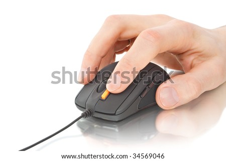 black computer mouse with hand isolated on white - stock photo