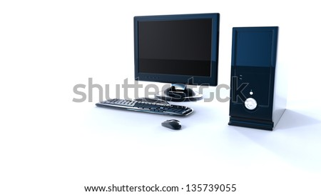 Black computer with keyboard and mouse