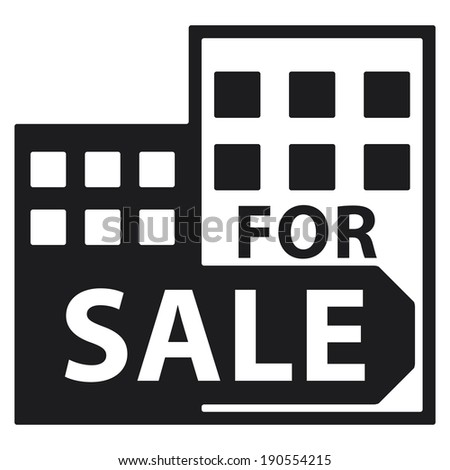 Black Condominium, Apartment, Building or Office For Sale Isolated on White Background  - stock photo