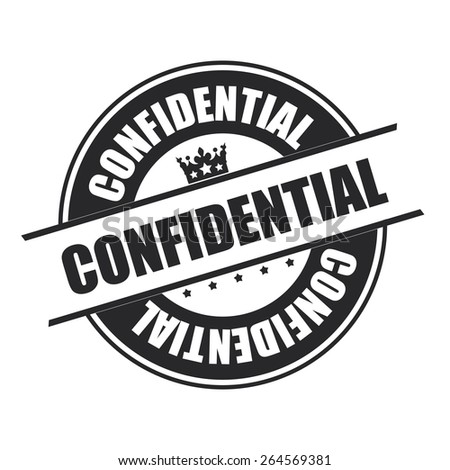 Black Confidential Stamp, Badge, Banner, Sign, Tag, Label, Sticker or Icon Isolated on White Background - stock photo