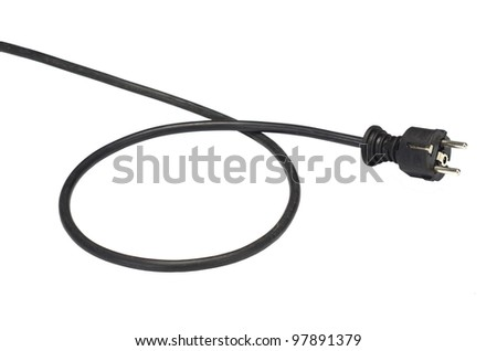 black connector with cable on white background - stock photo