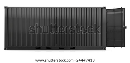 black container on white background - stock photo
