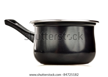 Black cooking pot on a white background - stock photo