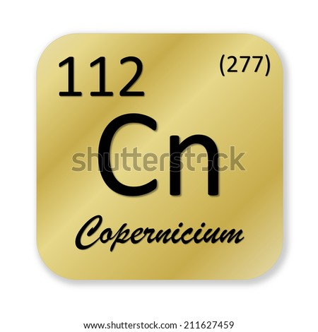 Black copernicium element into golden square shape isolated in white background