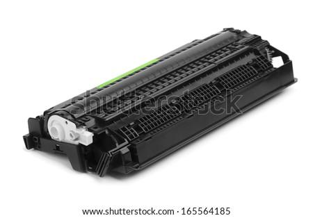Black copier cartridge isolated on white - stock photo