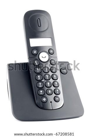 Black cordless isolated on a white background - stock photo