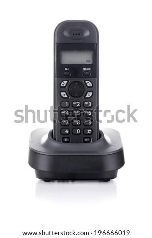 Black Cordless Phone Charging Isolated on White Background - stock photo