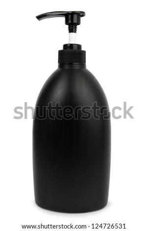 Black cosmetic bottle - stock photo