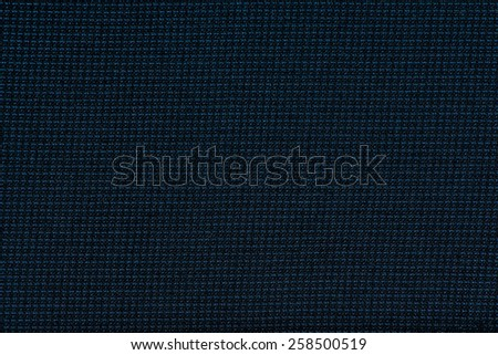 Black cotton fabric with blue stripes texture, background