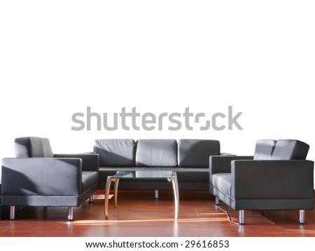 black couch and glass table