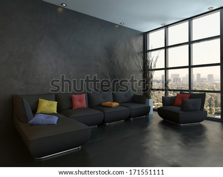 Black couch with colorful pillows against wooden wall - stock photo