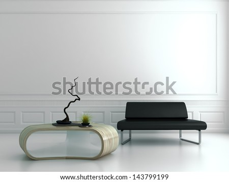 Black couch with modern wooden table in a luxury white baroque room - stock photo