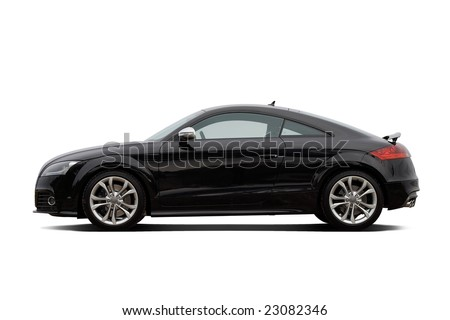 Black coupe isolated on white - stock photo