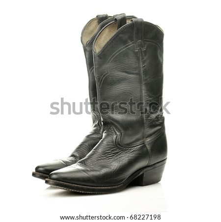 black cowboy boots - stock photo