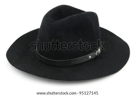Black Cowboy Hat, American West rodeo cowboy - stock photo