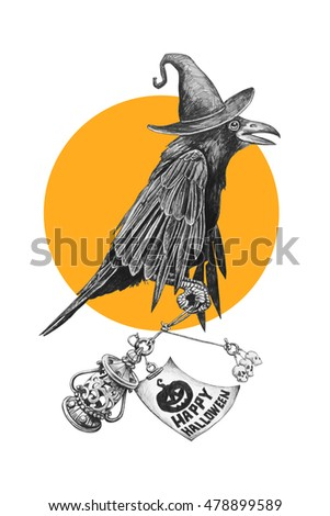 Black crow in a witches hat on Halloween night. Pencil drawing illustration.