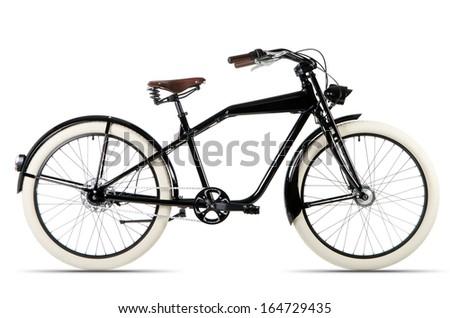 black Cruiser bicycle before white background - stock photo