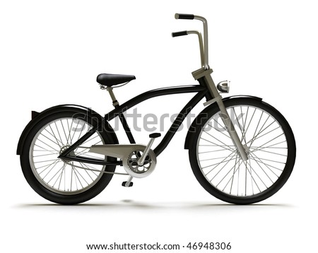Black cruiser bicycle, isolated on white. - stock photo