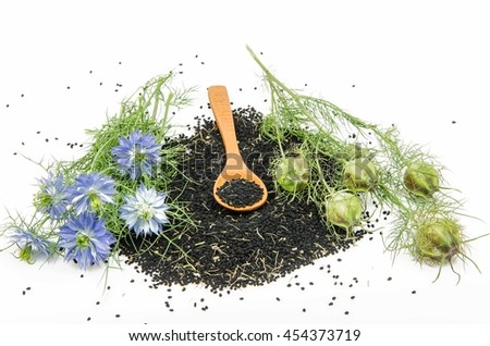 black cumin on white background
