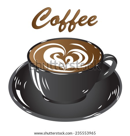 black cup coffee, hot drink chocolate icon isolated on white background illustration raster - stock photo