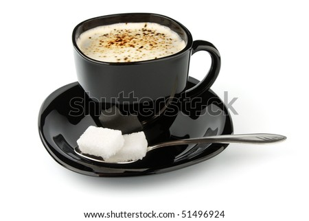black cup of coffee and lump sugar isolated on white background - stock photo