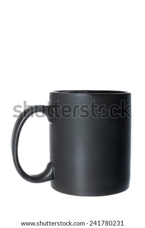 Black cup or mug for coffee, tea or any hot beverage. Object isolated on white background without shadows - stock photo