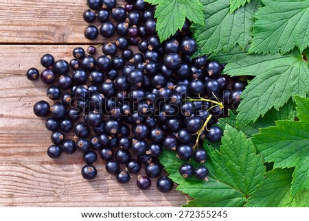black currant and green leaves on  wooden table - stock photo