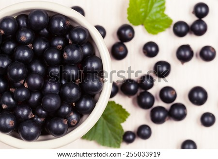Black currant superfoods in a bowl on white background - stock photo