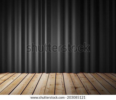 black curtains and wooden floor - stock photo