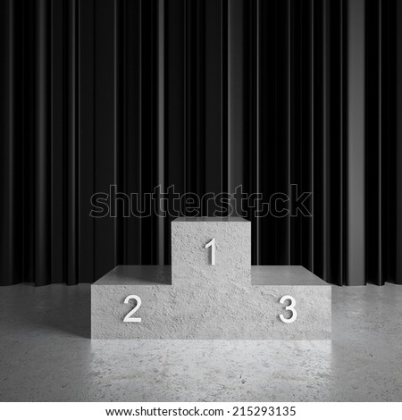 black curtains in room and champion podium - stock photo