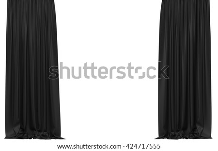 Black curtains isolated on white background. Include clipping path. 3D illustration - stock photo