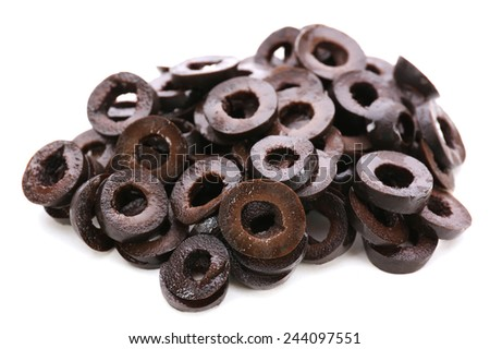 Black cut olive rings isolated on white - stock photo