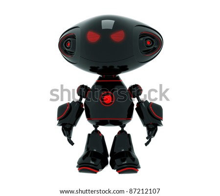 Black cute bad robotic toy statuette isolated on white - stock photo